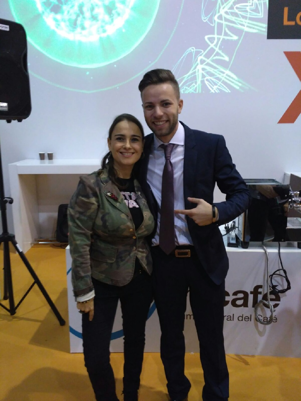Raquel con José Vicente Arrue Fernández (Subcampeon Barista 2016)