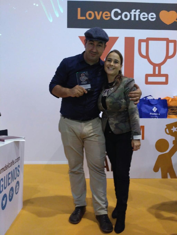 Raquel con Rayco Jesus Paz Rodriguez (Tercer Clasificado Barista 2016)